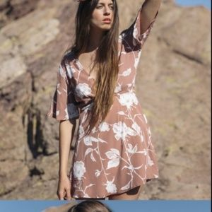 Whimsy & Row Marianne Wrap Dress in Mauve Floral